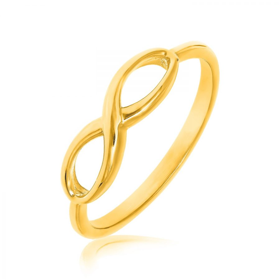 14K Yellow Gold Infinity Ring in High Polish