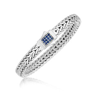 Sterling Silver Braided Style Men's Bracelet with Blue Sapphire Accents