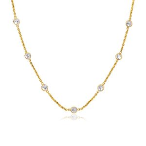 14K Yellow Gold CZ By the Yard Long Links