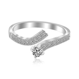 Sterling Silver Rhodium Finished Curvy Toe Ring with Cubic Zirconia Accents