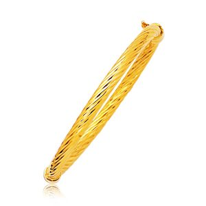 14K Yellow Gold Polished Cable Motif Bangle