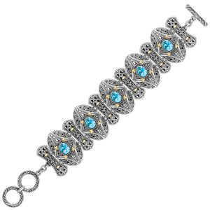 18K Yellow Gold and Sterling Silver Bracelet with Blue Topaz  Oval Motifs