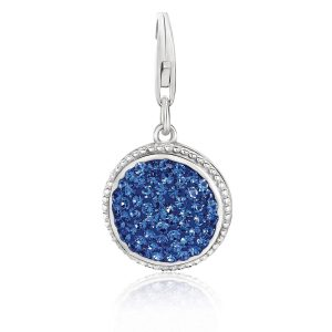 Sterling Silver Round Charm with Royal Blue Tone Crystal Accents