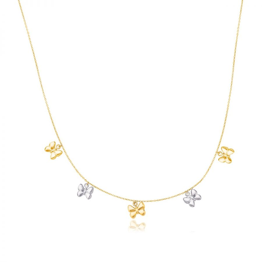 14K Two-Tone Gold Butterfly Charms Necklace