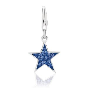 Sterling Silver Star Charm with Blue Tone Crystal Accents