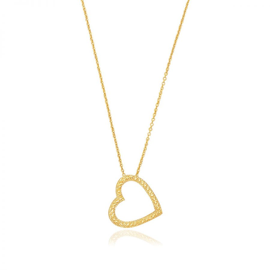 14K Yellow Gold Sparkle Texture Single Heart Necklace