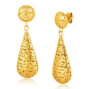 Italian Design 14K Yellow Gold Woven Drop Earring with Button Stud