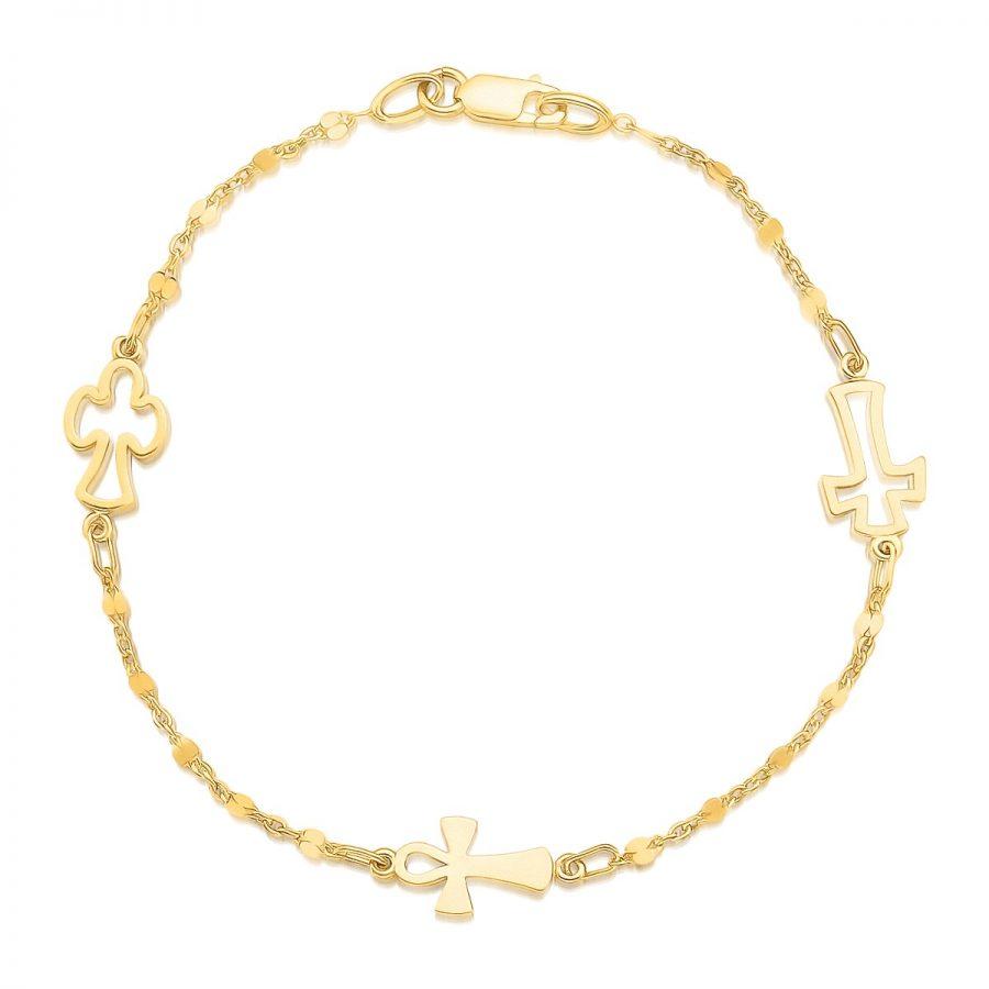 14K Yellow Gold Symbolic Cross Bracelet