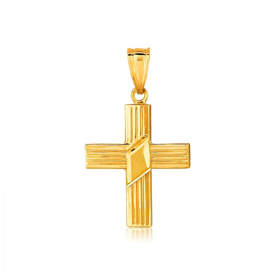 14K Yellow Gold Fancy Ridged Cross Pendant