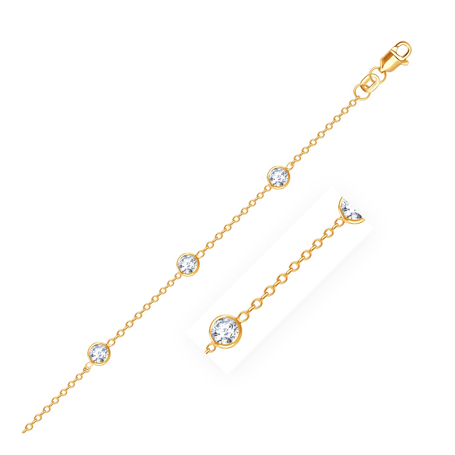 chain yg anklet beaded diamond cut yellow rubystella gold