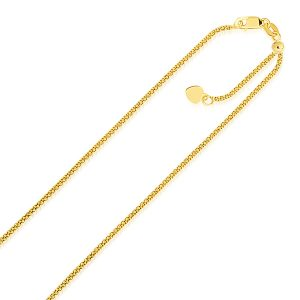1.3mm 14K Yellow Gold Adjustable Popcorn Chain