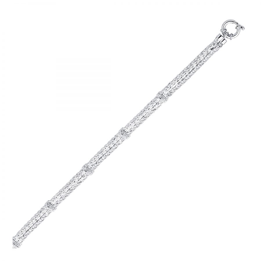 14K White Gold Dual Wheat Chain Bracelet with Diamond Stations (.08 ct. tw.)