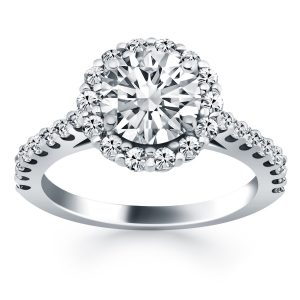 14K White Gold Cathedral Engagement Ring with Micro Prong Diamond Halo