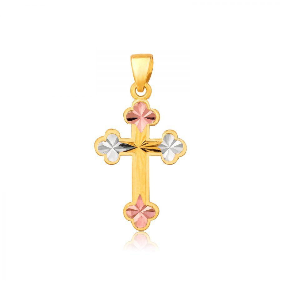 14K Tri Color Gold Cross Pendant