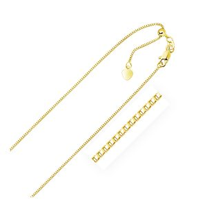 0.85mm 14K Yellow Gold Adjustable Box Chain