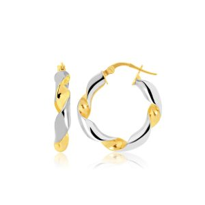 14K Two-Tone Gold Twisted Small Hoop Earrings