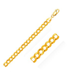 7.0mm 14K Yellow Gold Solid Curb Bracelet