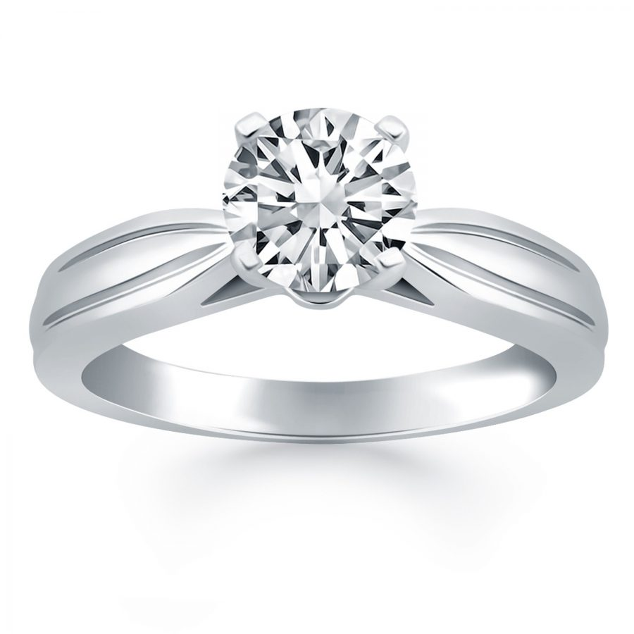 14K White Gold Tapered Engagement Solitaire Ring