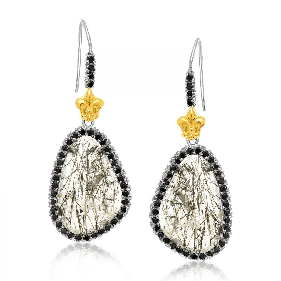 18K Yellow Gold & Sterling Silver Black Spinel Rutilated Quartz Earrings