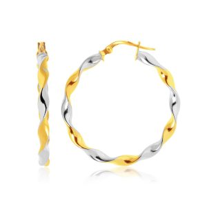 14K Two-Tone Gold Twisted Large Hoop Earrings