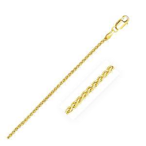 2.1mm 14K Yellow Gold Round Wheat Chain