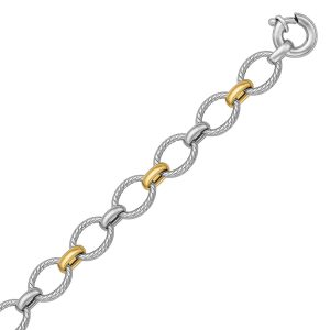 18K Yellow Gold and Sterling Silver Rhodium Plated Cable Motif Chain Bracelet