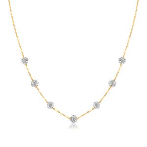 14K Yellow Gold Necklace with Crystal Embellished Sphere Stations