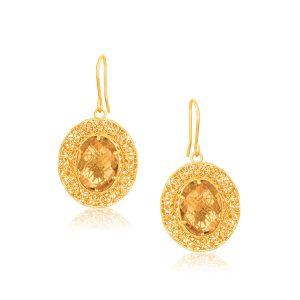 Italian Design 14K Yellow Gold Lace Earrings with Oval Citrine