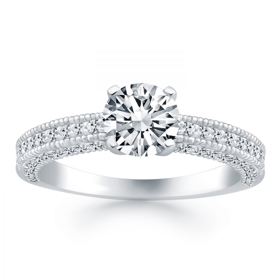 14K White Gold Diamond Micropave Milgrain Engagement Ring