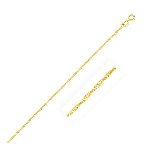 1.0mm 14K Yellow Gold Singapore Bracelet