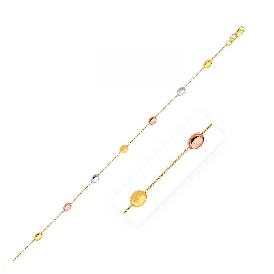 14K Tri-Color Gold Puffed Oval Shape Station Adjustable Anklet