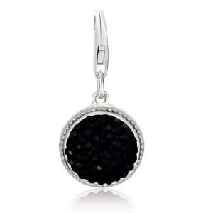 Sterling Silver Round Charm with Black Tone Crystal Accents