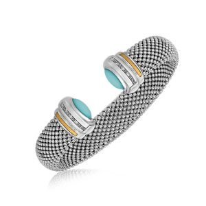 18K Yellow Gold and Sterling Silver Turquoise Accented Cuff Bangle (.09 ct. tw.)