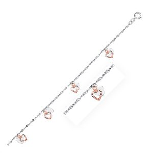 14K White and Rose Gold Anklet with Dual Heart Charms