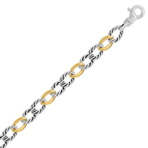 18K Yellow Gold and Sterling Silver Polished and Cable Designed Chain Bracelet