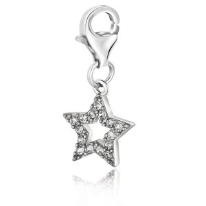 Sterling Silver Star Charm with White Tone Crystal Embellishments