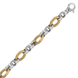 18K Yellow Gold and Sterling Silver Multi Design Cable Chain Bracelet
