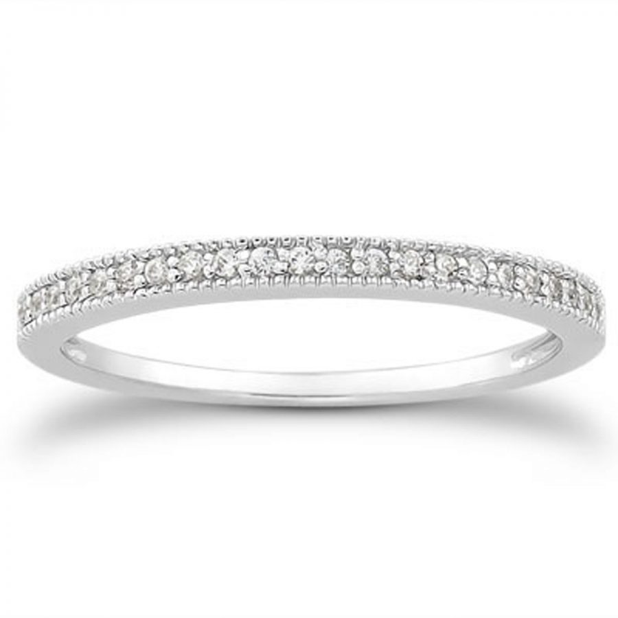 14K White Gold Diamond Micro Pave Diamond Milgrain Wedding Ring Band