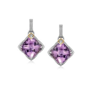 18K Yellow Gold and Sterling Silver Amethyst and Diamond Accented Drop Earrings