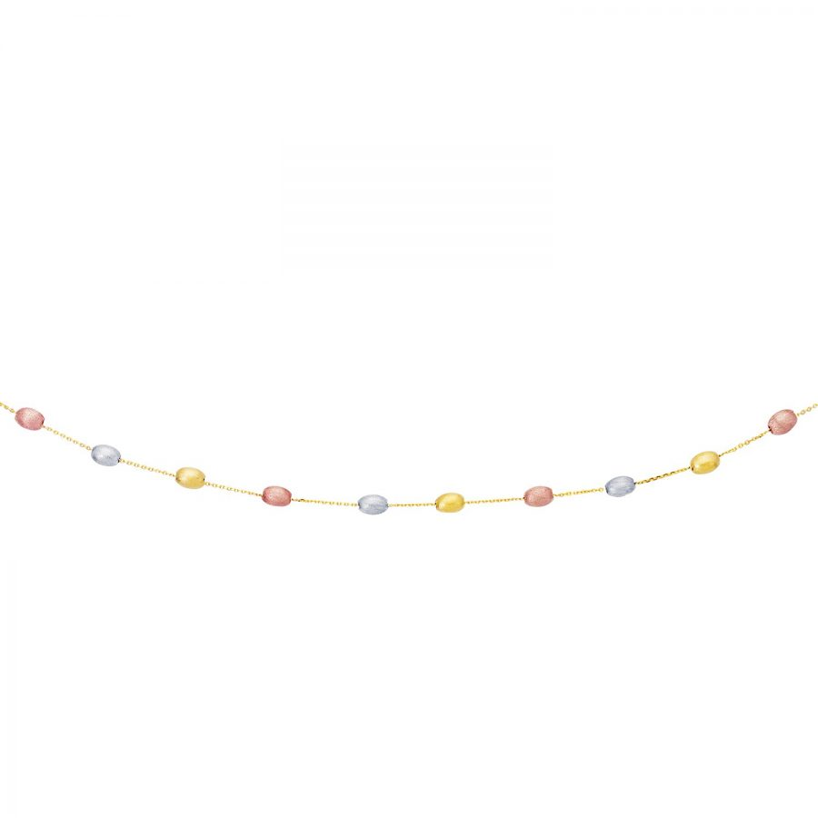 14K Tri-Color Gold Necklace with Fancy Textured Pebble Stations