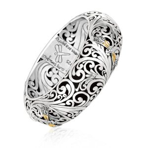 18K Yellow Gold and Sterling Silver Baroque Motif Dragonfly Hinged Bangle