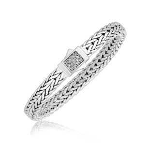 Sterling Silver Braided Men's Bracelet with White Sapphire Accents