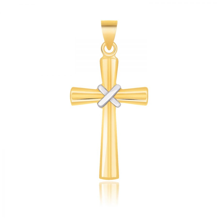 14K Two-Tone Gold Cross Pendant with a Center X Design
