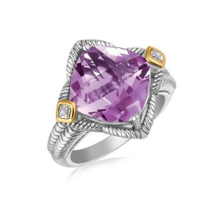 18K Yellow Gold and Sterling Silver Cushion Amethyst and Diamond Accent Ring