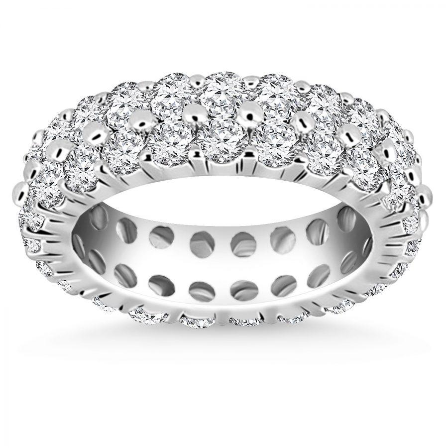 14K White Gold Double Band Round Diamond Eternity Ring