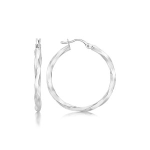 Sterling Silver Spiral Motif Polished Large Hoop Earrings