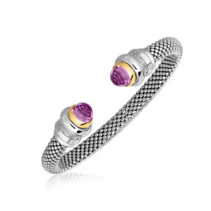 18K Yellow Gold and Sterling Silver Mesh Cuff Bangle with Amethyst (.11 ct. tw.)