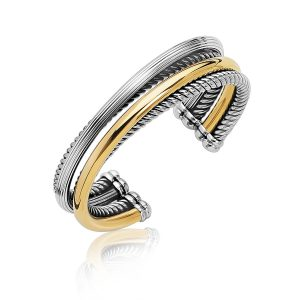18K Yellow Gold and Sterling Silver Stack Style and Multi Textured Cuff Bangle
