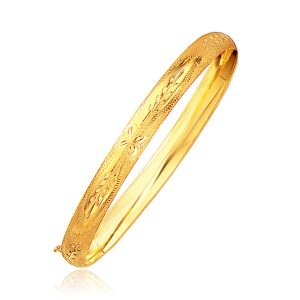 Classic Floral Carved Bangle in 14K Yellow Gold (6.0mm)