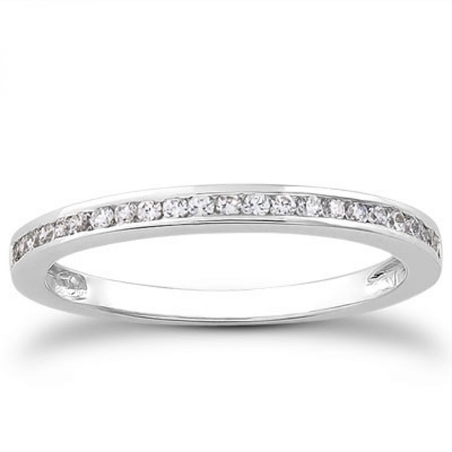 14K White Gold Slender Channel Set Diamond Wedding Ring Band Set 1/2 Around
